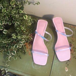 Urban Outfitters pink metallic kitten heels